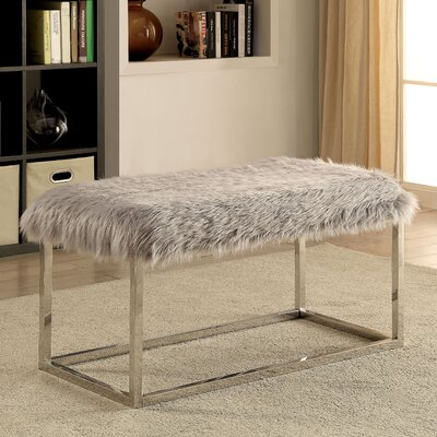 Agrippa Contemporary Metal/Metal Bench Upholstery: Gray, Frame Color: Gold