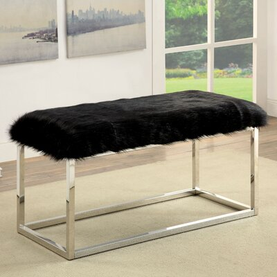 Agrippa Contemporary Metal/Metal Bench Upholstery: Black, Frame Color: Chrome