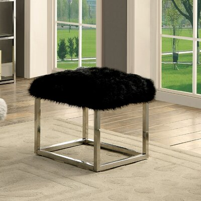 Agrippa Vanity Stool Upholstery: Black, Finish: Chrome