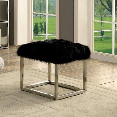 Agrippa Vanity Stool Upholstery: Black, Finish: Chrome