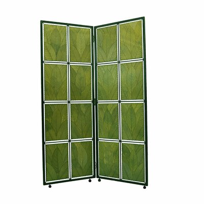 Cocoa Leaf 2 Panel Room Divider Color: Green