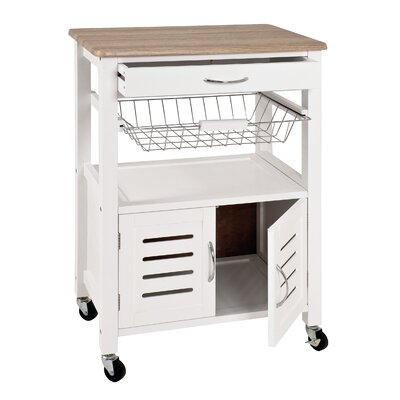 Andover Mills Dow Kitchen Cart with Wood Top