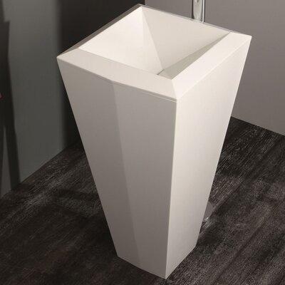 "Crystal Stone 18"" Pedestal Bathroom Sink"