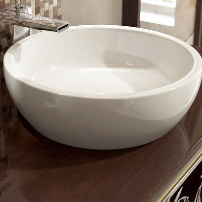 Texture Ceramic Circular Vessel Bathroom Sink