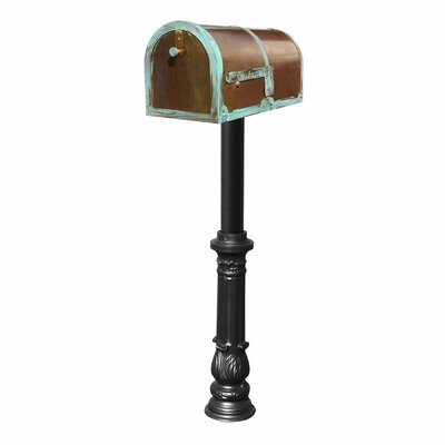 Provincial Mailbox with Post Included Finish: Antique Brass Patina and Black