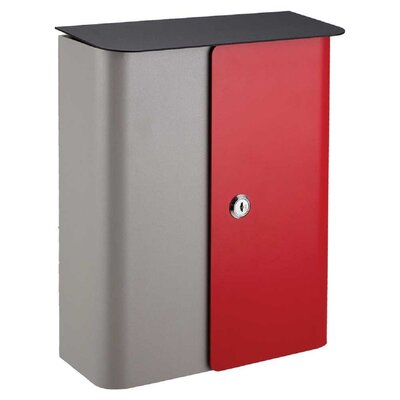 Winfield Locking Wall Mounted Mailbox Mailbox Color: Gray/Red