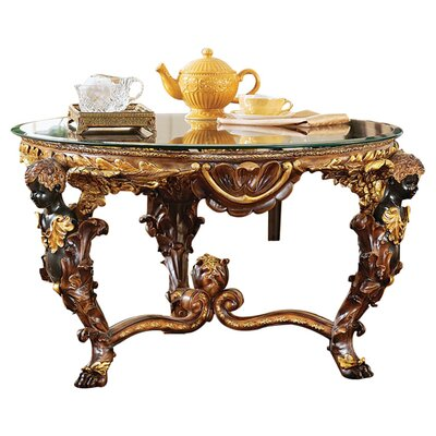 Design toscano louis xiv coffee table with glass top for Wayfair glass top coffee table