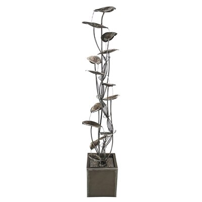 Metal Leaf Cascading Tower Fountain