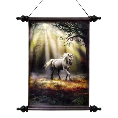 Design Toscano Glimpse of a Mystic Unicorn Canvas by Anne Stokes Wall Scroll Tapestry