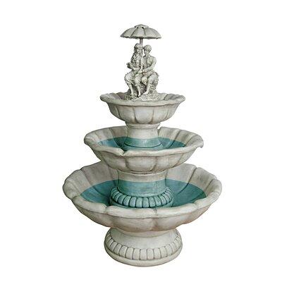 Design Toscano Lovers Under Umbrella Sculptural Fountain