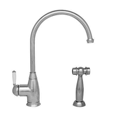Queenhaus Single Handle Kitchen Faucet with Side Spray Finish: Polished Chrome
