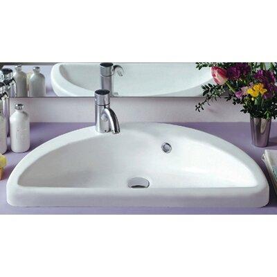 Whitehaus Collection China Mezza Luna Half Circle Bathroom Sink with Overflow