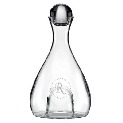 Navy Dots Tuscany 48 Oz. Decanter Letter: W