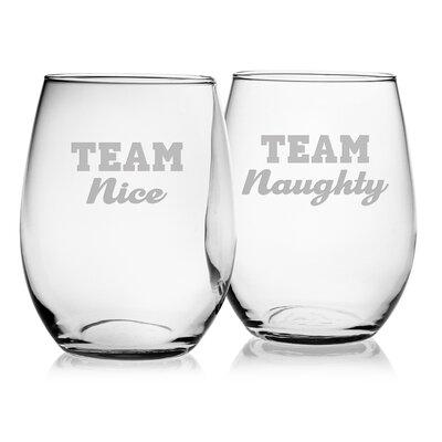 Team Naughty and Nice Glass 21 oz. All Purpose Stemless Wine Glass