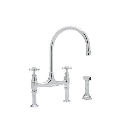 """Rohl Perrin and Rowe Deck Mount Two Handle Widespread Kitchen Faucet with High """"C"""" Spout"""