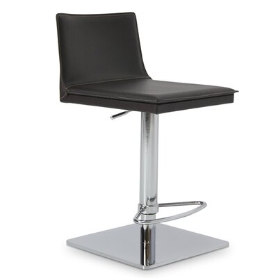 Tiffany Adjustable Height Bar Stool Upholstery: Black