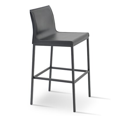 "Polo 29"" Bar Stool Upholstery: Brown, Base Finish: Black Powder"