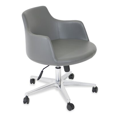 Dervish Desk Chair Upholstery: Leatherette - Gray