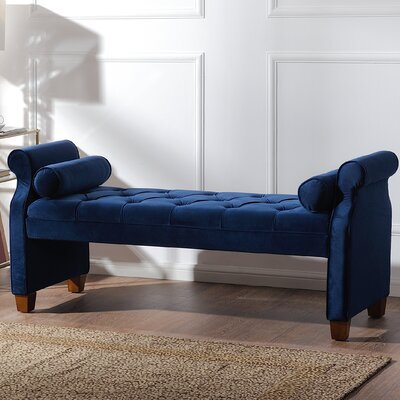 Belby Upholstered Bench Color: Navy Blue