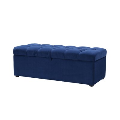 Luyen Tufted Upholstered Storage Bedroom Bench Upholstery: Navy Blue