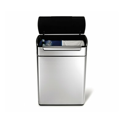 simplehuman Bins 24-Litre Rectangular Touch Bar Recycler with Removable Liner