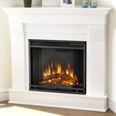 Chateau Corner Electric Fireplace Finish: White
