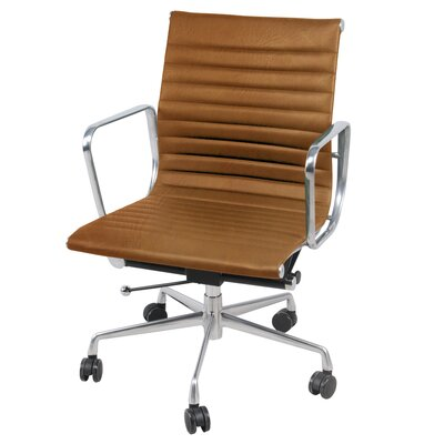 Boudreaux PU Office Desk Chair Color: Vintage Tawny Brown