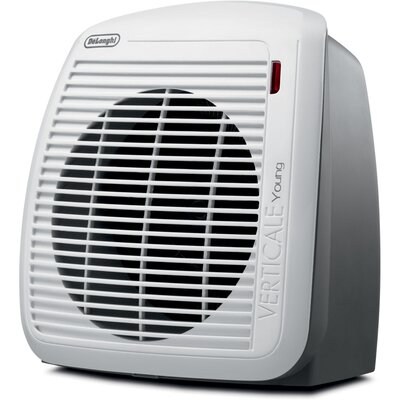 1,500 Watt Portable Electric Fan Compact Heater with Adjustable Thermostat Finish: Gray / White