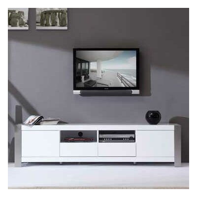 "Composer 79"" TV Stand Color: White High Gloss and Brushed Stainless Steel"
