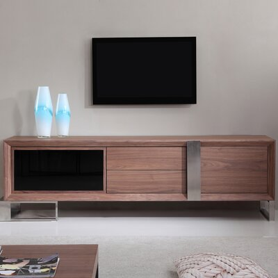 "Entertainer 81.3"" TV Stand Color: Walnut & Stainless Steel"