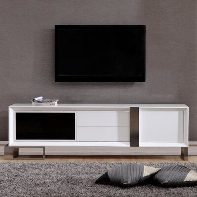 "Entertainer 81.3"" TV Stand Color: White & Stainless Steel"