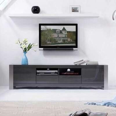 "Composer 79"" TV Stand Color: Gray High Gloss and Brushed Stainless Steel"
