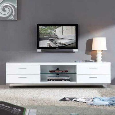 "Promoter 79"" TV Stand Color: White High Gloss and Brushed Stainless Steel"