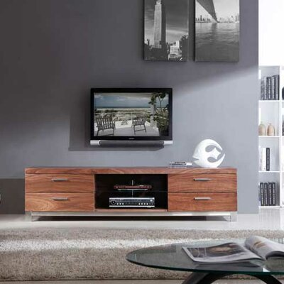 "Promoter 79"" TV Stand Color: Light Walnut and Polished Stainless Steel"