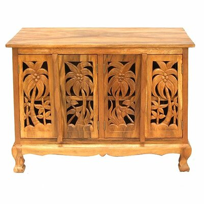 Handmade Acacia Coconut Palm Accent Cabinet