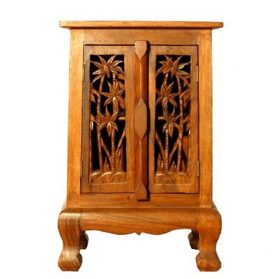 "Handmade 24"" Coconut Palm Storage Accent Cabinet"