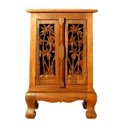 "Handmade 24"" Coconut Palm Storage Accent Cabinet"