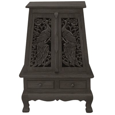 """Handmade Acacia 37"""" Peacock and Peony Storage Accent Cabinet"""