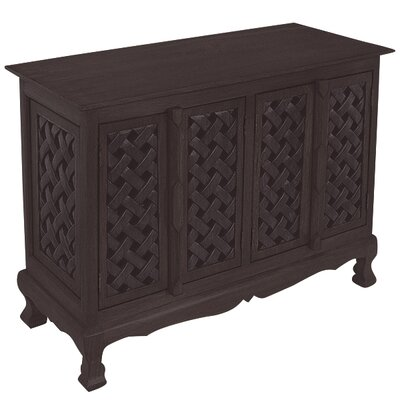 Handmade Acacia Lattice Panels Storage Accent Cabinet