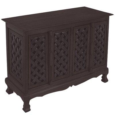 Handmade Acacia Lattice Panels Storage Accent Cabinet