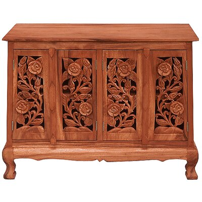 Handmade Acacia Vintage Roses Storage Accent Cabinet Color: Natural
