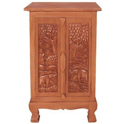 "Handmade Acacia 32"" Royal Elephant Storage Accent Cabinet"