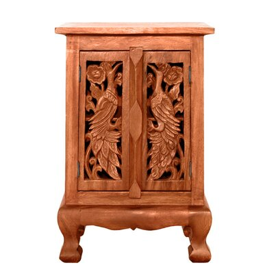 "Handmade 24"" Exotic Peacocks Storage Acent Cabinet"