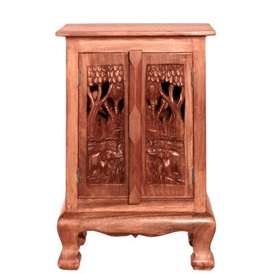 "Handmade 24"" Royal Elephants Storage Accent Cabinet"