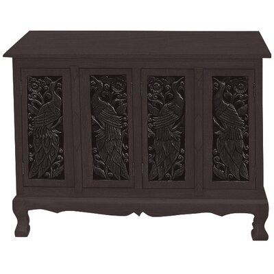 Handmade Acacia Exotic Peacocks Storage Accent Cabinet Color: Rich Dark
