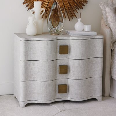 Toile Linen 3 Drawer Accent Chest Color: White