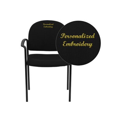 Personalized Comfortable Stackable Steel Guest Chair Seat Color: Black, Arms: With Arms