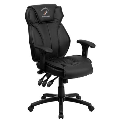 Personalized High-Back Leather Executive Office Chair with Triple Paddle Control