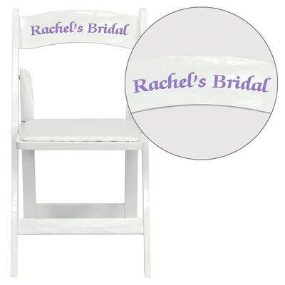Hercules Series Personalized Wood Folding Chair with Vinyl Padded Seat Color: White