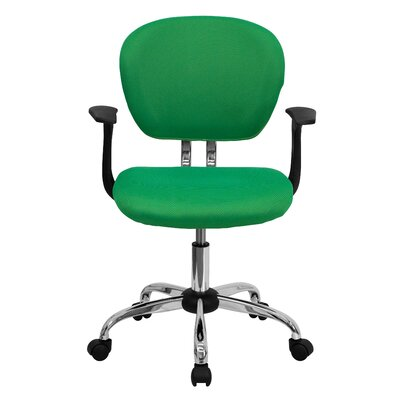 Personalized Mid-Back Mesh Desk Chair Color: Bright Green, Arms: With Arms